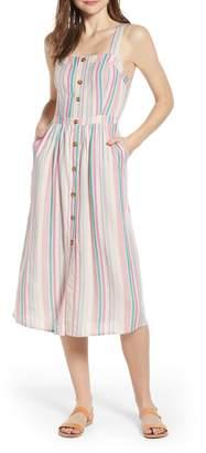 BP Stripe Button Front Midi Dress
