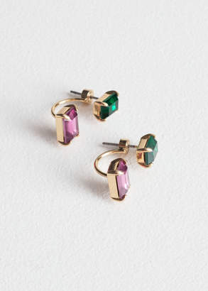 And other stories Jewelled Front Back Stud Earrings