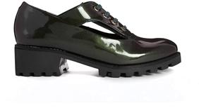 Miista Dulce Cut Out Patent Flat Shoes - Green/black