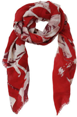 Basque NEW Printed Wool Scarf AMB4816 Red