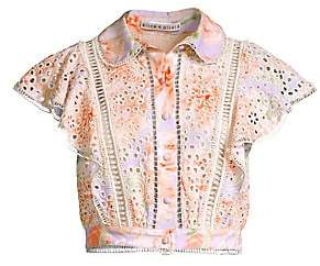 Alice + Olivia Women's Cavan Embroidered Eyelet Blouse - Size 0