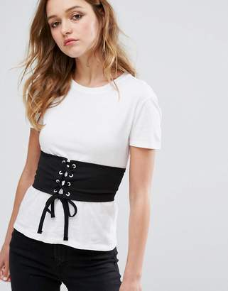 Pull&Bear Corset Detail T-Shirt $29 thestylecure.com