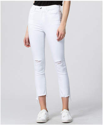 Vervet Ultra High Rise Raw Step Hem Slim Crop Straight Jeans