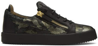 Giuseppe Zanotti Black and Green Camo Print Low-Top Sneakers