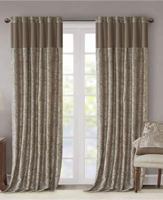 "Madison Park Aubrey 50"" x 108"" Paisley Jacquard Faux-Silk Rod Pocket/Back Tab Curtain Panel Pair"