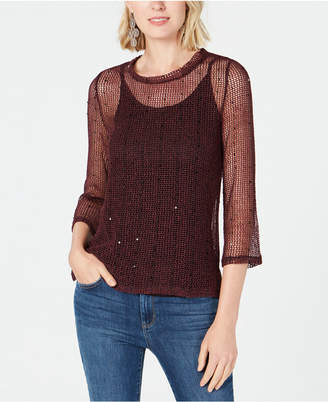 INC International Concepts I.n.c. Sequined Open-Knit Illusion Top