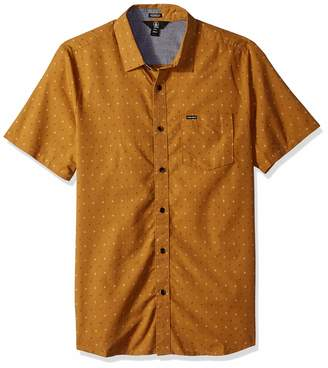 Volcom Men's Frequency Dot Modern Fit Woven Button Up Short Sleeve Shirt, Extra Large