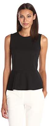 Lark & Ro Women's Ponte Sleeveless Peplum Top