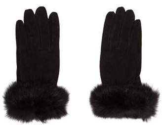 Fur Suede Rabbit-Trim Gloves Black Fur Suede Rabbit-Trim Gloves