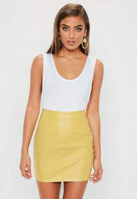Missguided Yellow Faux Leather Mini Skirt