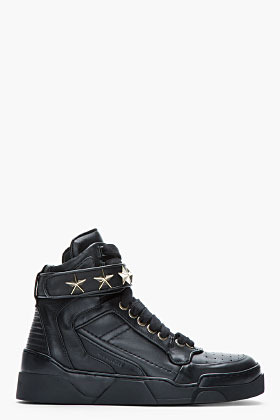 Givenchy Black Leather Star-Embellished High-Top Sneakers