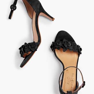 Talbots Lakia Floral Applique Suede Sandals