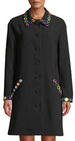 Mirror-Trimmed Button-Front Coat