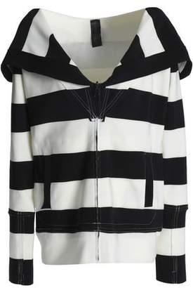 Norma Kamali Striped Stretch-Knit Hooded Sweatshirt
