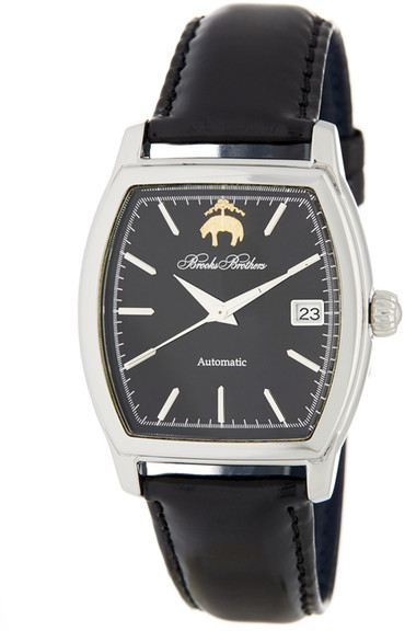 Brooks Brothers Brooks Brothers Men&s Premium Collection Rectangular Leather Strap Watch