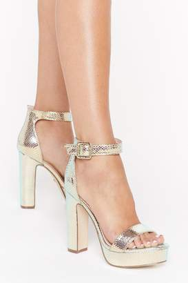 Nasty Gal Snake You Stand Out Metallic Platform Heels