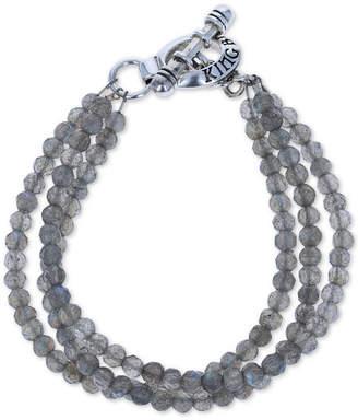 King Baby Studio Women's Labradorite Triple Strand Toggle Bracelet in Sterling Silver