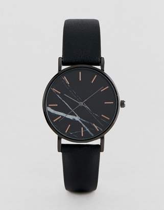 Asos DESIGN watch with black marble and rose gold details in black