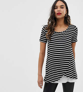 Bluebelle Maternity striped wrap over top with short sleeve in black and white