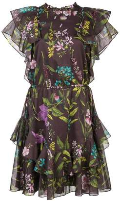 Lela Rose floral flared dress
