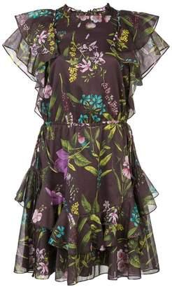 Lela Rose floral flared dress