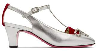 Gucci Anita Crystal Bow Embellished T Bar Leather Pumps - Womens - Silver