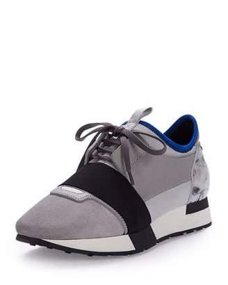 Balenciaga Mixed-Media Leather Sneaker, Gray/Blue $655 thestylecure.com