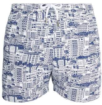 Frescobol Carioca - Sports Predios Print Swim Shorts - Mens - Navy Multi