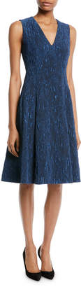Jason Wu V-Neck Sleeveless Fit-and-Flare Cloque Jacquard Cocktail Dress