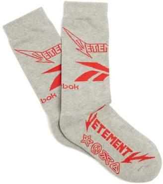 Vetements X Reebok Metal Cotton Blend Socks - Womens - Grey
