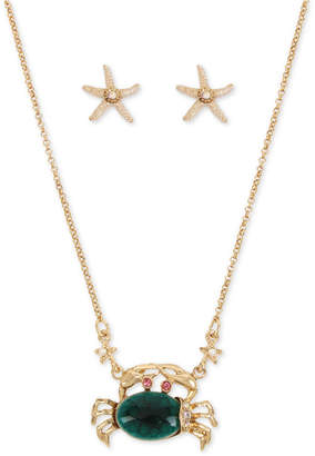 Betsey Johnson Gold-Tone 2-Pc. Set Stone Crab Pendant Necklace & Starfish Stud Earrings
