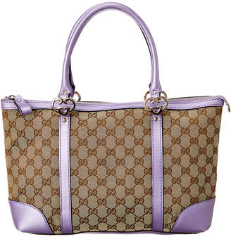 Gucci Brown Gg Canvas & Purple Leather Lovely Heart Tote