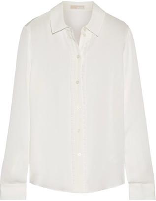 MICHAEL Michael Kors - Ruffle-trimmed Silk Crepe De Chine Shirt - White $240 thestylecure.com
