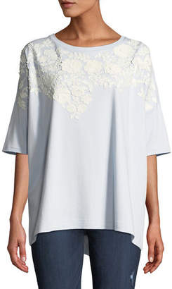 Joan Vass Short-Sleeve Relaxed Big Tee with Floral Applique, Plus Size