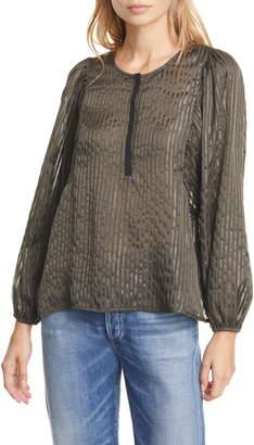 Dolan Kate Metallic Shadow Stripe Silk Top