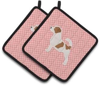 Caroline's Treasures Jack Russell Terrier Checkerboard Pink Pair of Pot Holders
