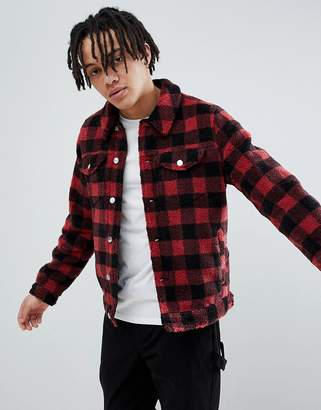 Asos DESIGN Borg Western Jacket in Red Check