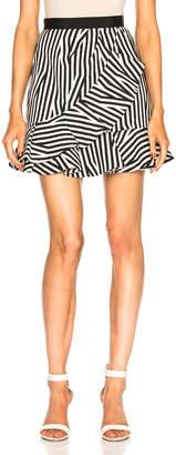 Self-Portrait Stripe Ruffle Skirt
