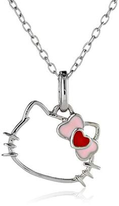 Hello Kitty Sterling Heart Bow Silhouette Pendant Necklace