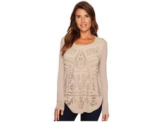 Tribal Long Sleeve Scoop Neck Top w/ Cut Out Women's Long Sleeve Pullover