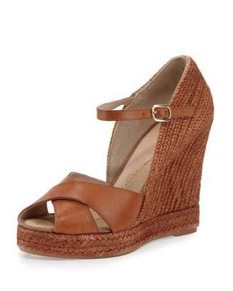 Andre Assous Giulia Leather Espadrille Wedge Sandal, Cuero $295 thestylecure.com