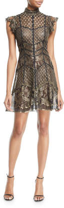 J. Mendel Gold-Patterned Cap-Sleeve Dress