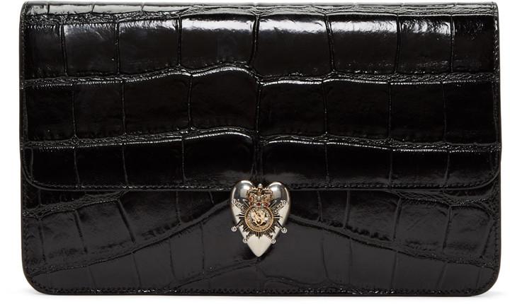 Alexander McQueenAlexander McQueen Black Croc-Embossed Heart Envelope Clutch