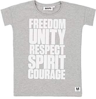 "Molo Kids Kids' Rilla ""Freedom Unity Respect"" Cotton T-Shirt"