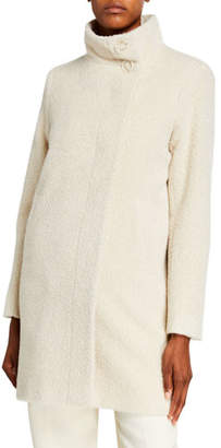 Sofia Cashmere Funnel-Neck Fitted Coat