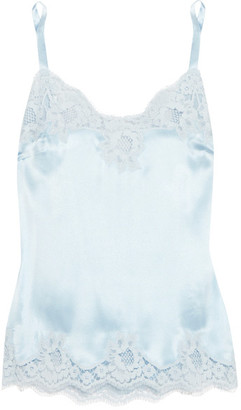 Lace-trimmed Stretch-silk Satin Camisole - Sky blue