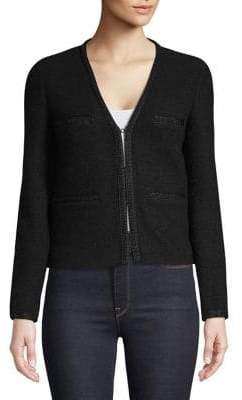 Maje Long-Sleeve Cropped Blazer Jacket