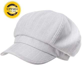 Siggi Ladies Newsboy Cabbie Cap Visor Beret Baker Hat Painter Caps LightGray