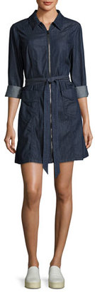 7 For All Mankind Zip-Front Belted Denim Dress, Indigo $155 thestylecure.com