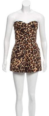 Tamara Mellon Strapless Animal Print Romper